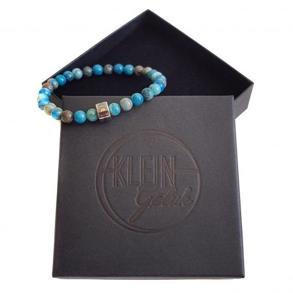 Dames Armband Blauw Agaat 6mm Cadeau