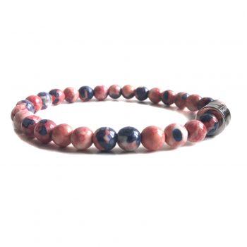 Dames Armband Blauw Roze Jaspis 6mm