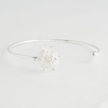 Dames Armband Lotus Flower Cuff Zilver