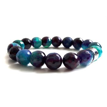 Dames Armband Paars Turquoise Agaat Facet