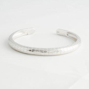Dames Armband Snake Print Cuff Zilver