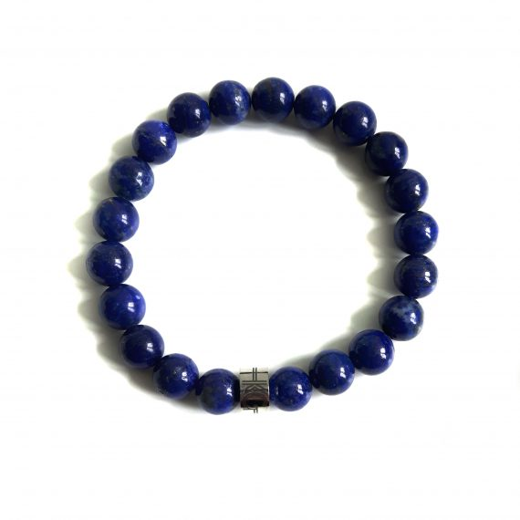 Heren armband lapis lazuli blauw