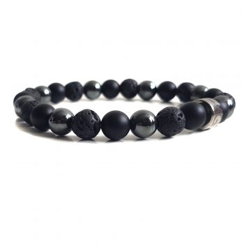 Heren Armband Mix Zwart-Hematiet 8mm