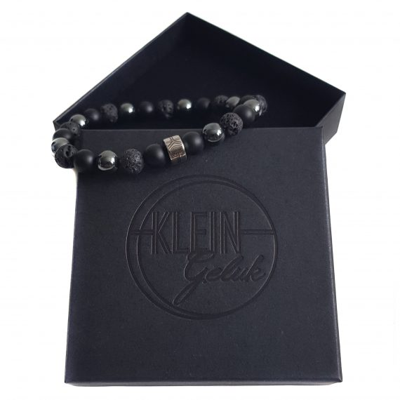 Heren Armband Mix Zwart-Hematiet 8mm Cadeau