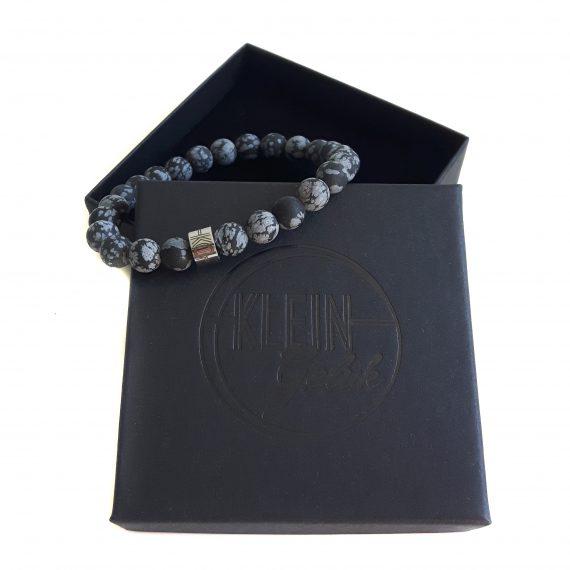 Heren Armband Sneeuwvlok Obsidiaan Mat 8mm Cadeau