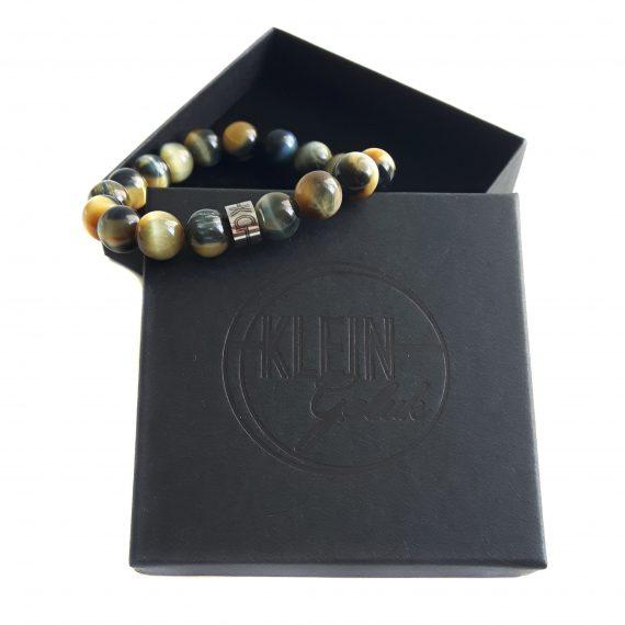 Heren armband tijgeroog exclusive blauw geel cadeau