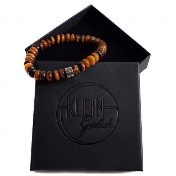 Heren Armband Tijgeroog Rondel 8mm Cadeau